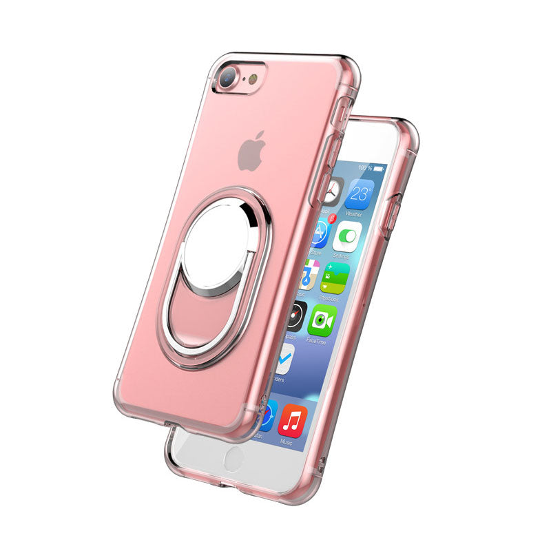 Transparent soft TPU with 360 degrees ring and stand iPhone 8 Case