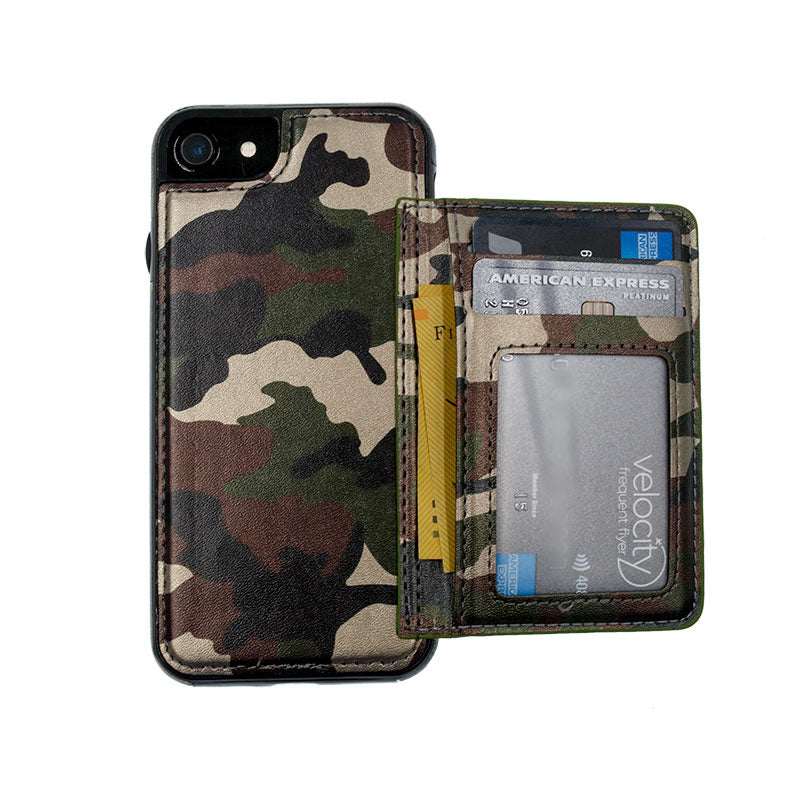 Camouflage leather wallet card slots stand iPhone 6/6s Cover Case
