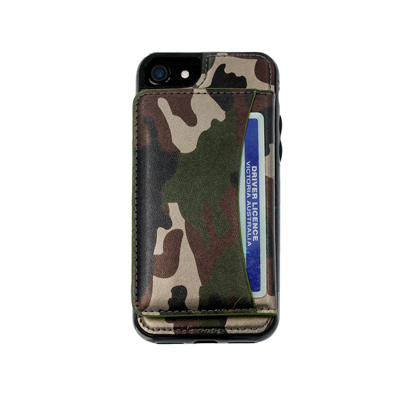 big sale 1346c 5f7ba Camouflage leather wallet card slots stand iPhone 6/6s Plus Cover Case