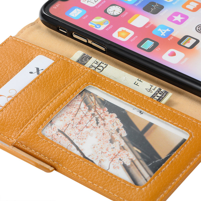 iicase-australia_Genuine Leather litchi pattern wallet with magnet clasp iPhone X Case 5.8""