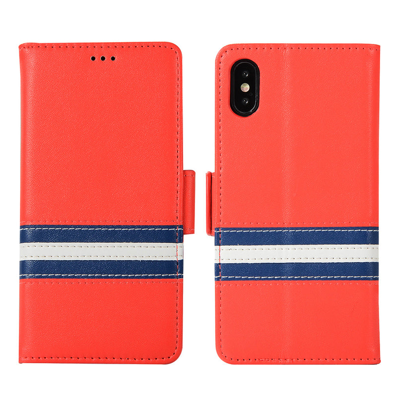 iicase-australia_Genuine Leather Contrast Colour Magnetic Close Wallet iPhone X Case 5.8""