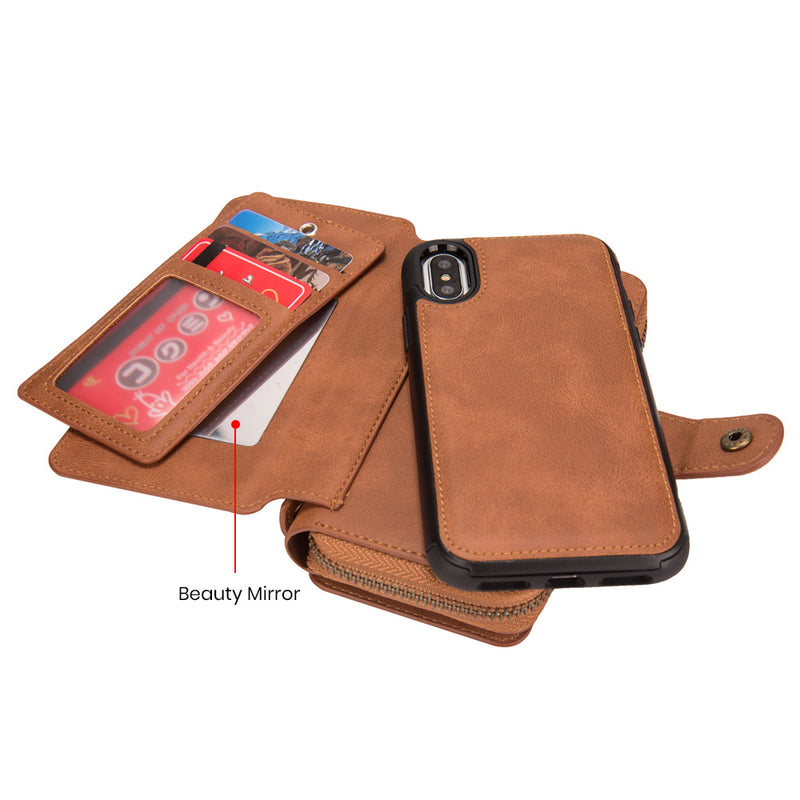 iicase-australia_BRG Hand Strap Leather organiser mirror wallet detachable iPhone X Case 5.8""