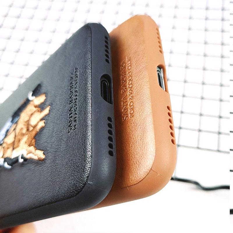 best sneakers 93290 eb7d8 Polo embroidery leather fashion slim iPhone Xs Max Case 6.5