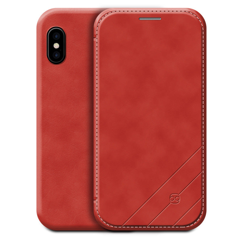 Super thin leather flip wallet with card slot iPhone X Case 5.8""