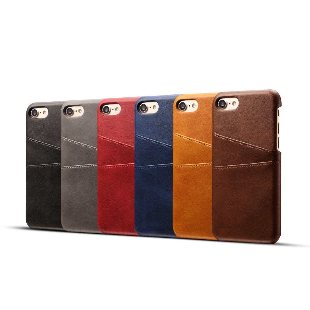 Genuine leather case with back card slots iPhone 8 case cover