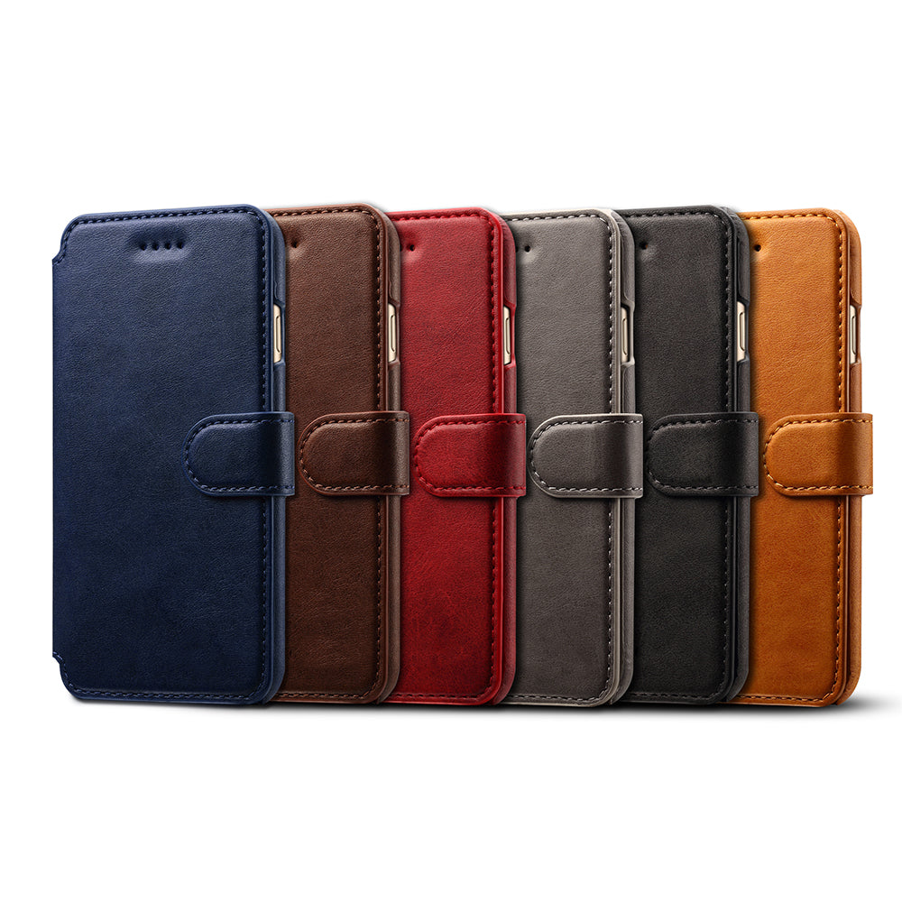 Genuine leather wallet card slots iPhone 6/6s case with magnet close clasp