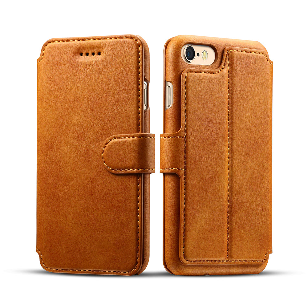 Genuine leather wallet card slots iPhone 7 case with magnet close clasp