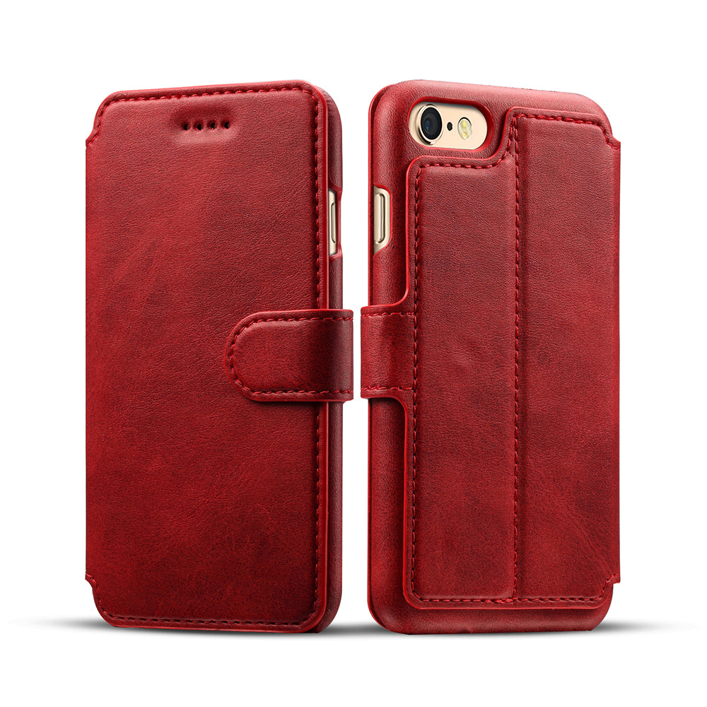 Genuine leather wallet card slots iPhone 6s+ Plus Case 5.5 inch with magnet close clasp