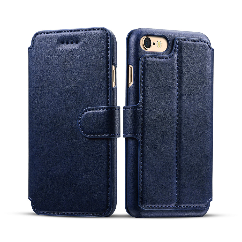 Genuine leather wallet card slots iPhone 8 case with magnet close clasp