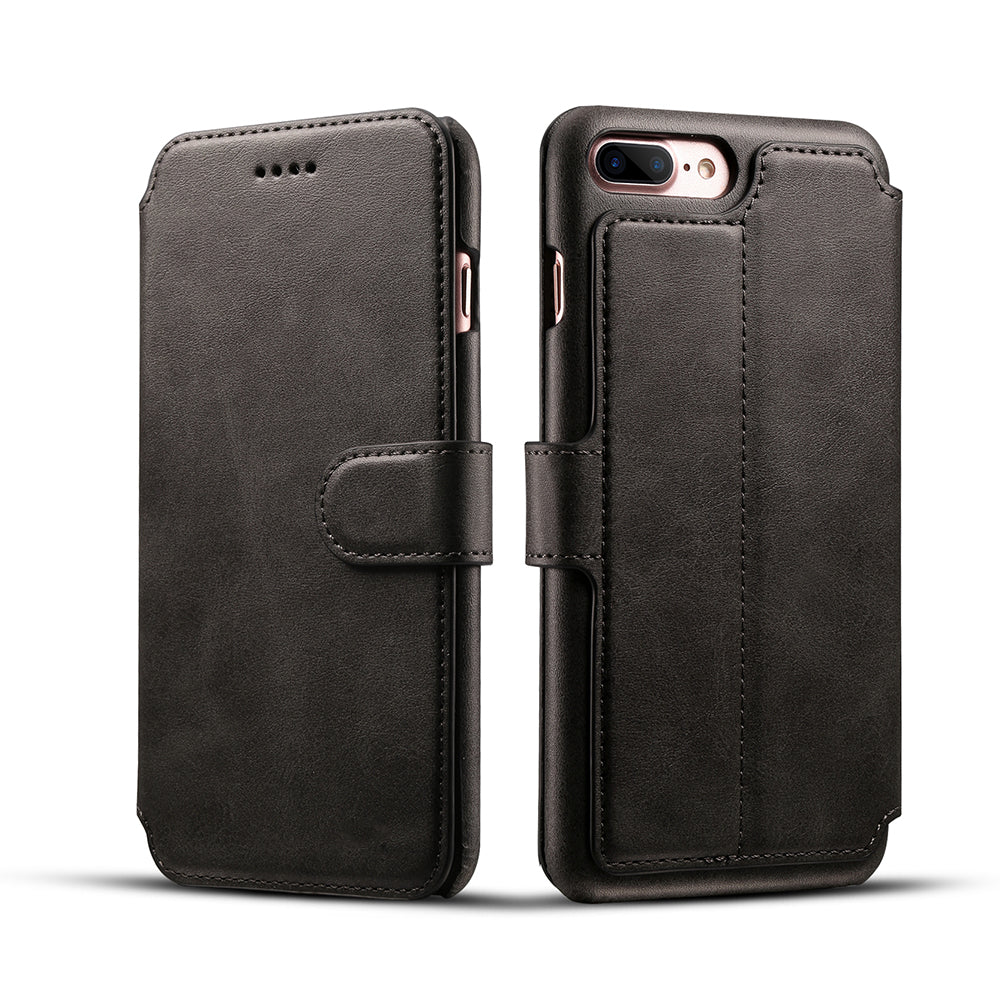 Genuine leather wallet card slots iPhone 8 Plus case with magnet close clasp