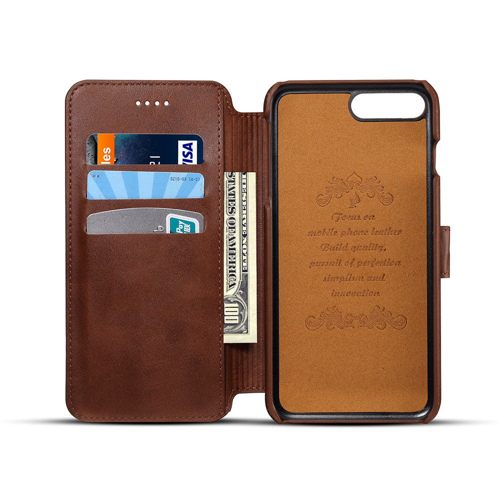 sports shoes e039f cb46a Genuine leather wallet card slots iPhone 8 Plus case with magnet close clasp