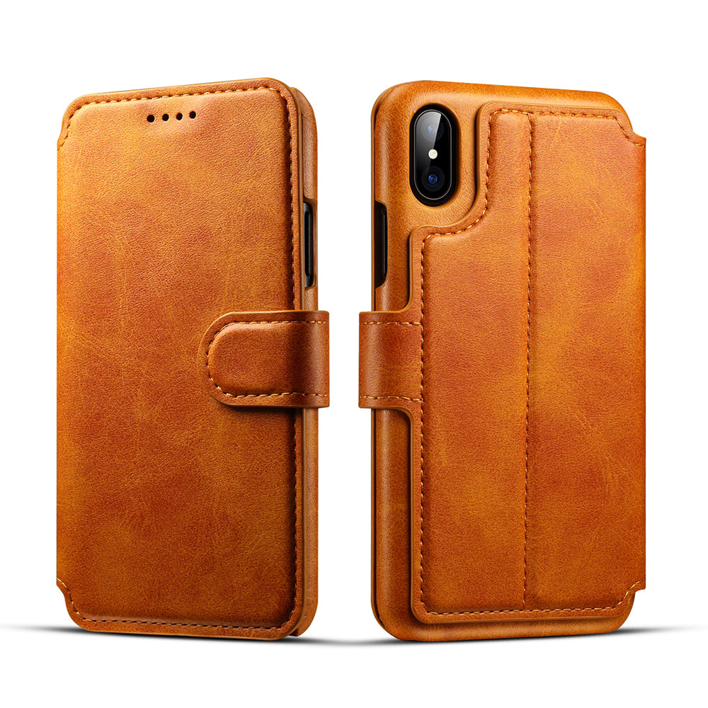 "Genuine leather wallet card slots iPhone XS Case 5.8"" with magnet close clasp"