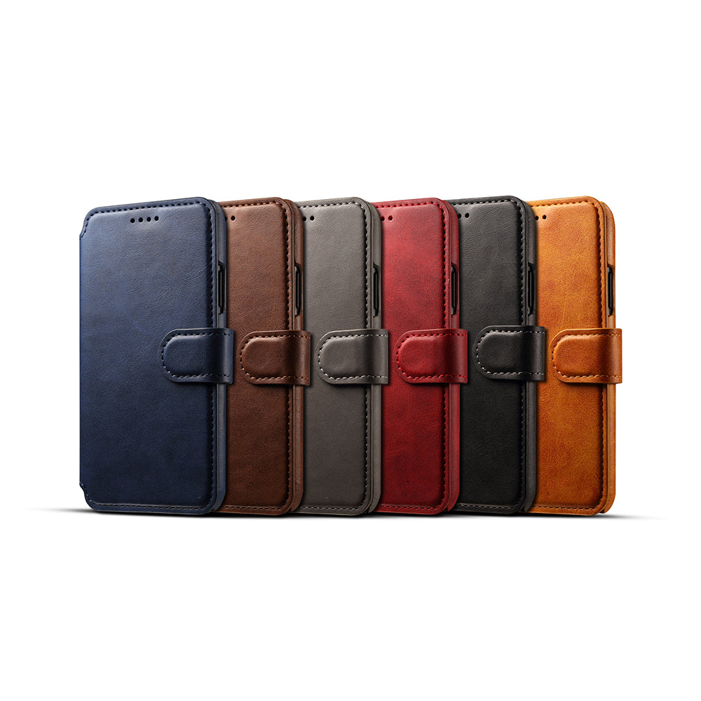 Genuine leather wallet card slots iPhone X case with magnet close clasp