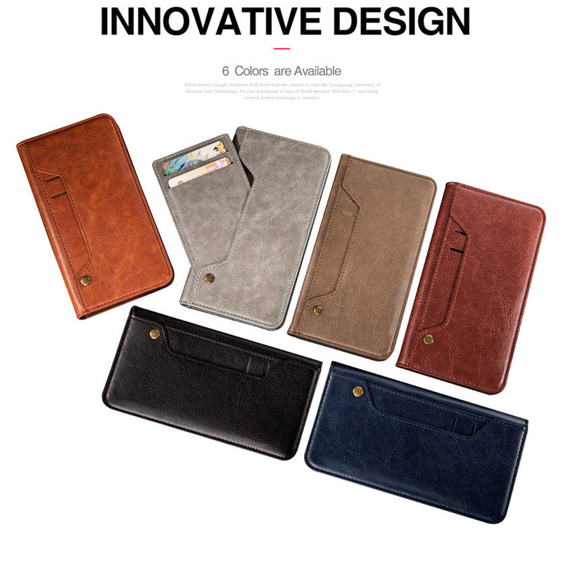 Genuine leather turnable card slots wallet iPhone XS Case 5.8""