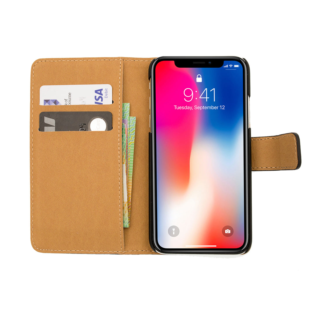 Slim leather flip wallet card slots iPhone X case with magnet clasp