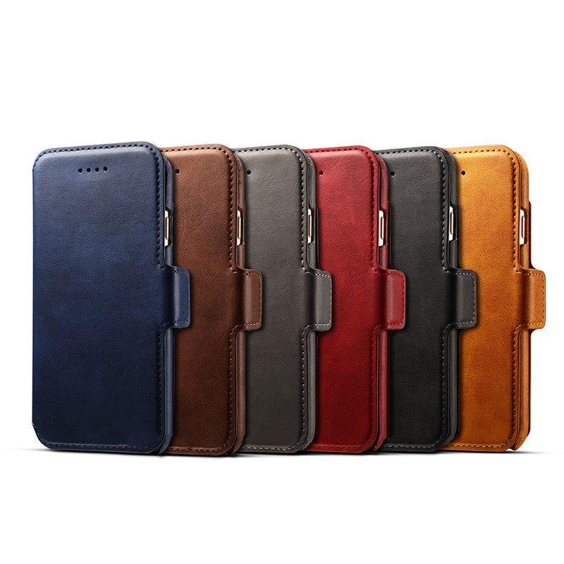 3 in 1 functional real leather separable magnet flip iPhone 8 Case
