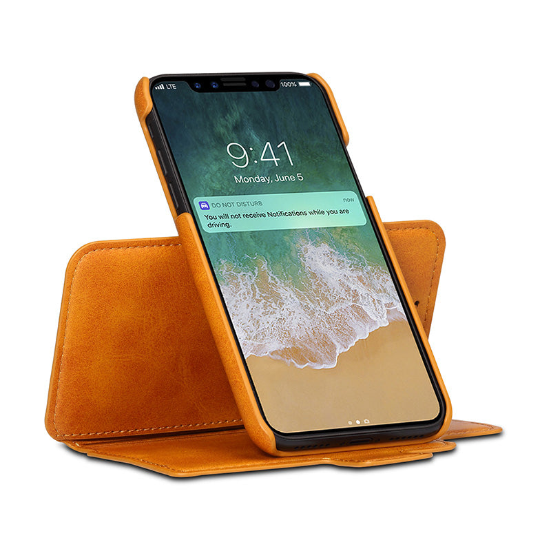 3 in 1 functional real leather separable magnet flip iPhone XS Case 5.8""