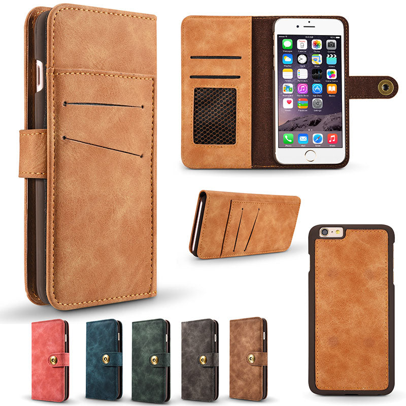 Turn fur flip wallet magnet clasp with separable case iPhone SE/5/5S Case