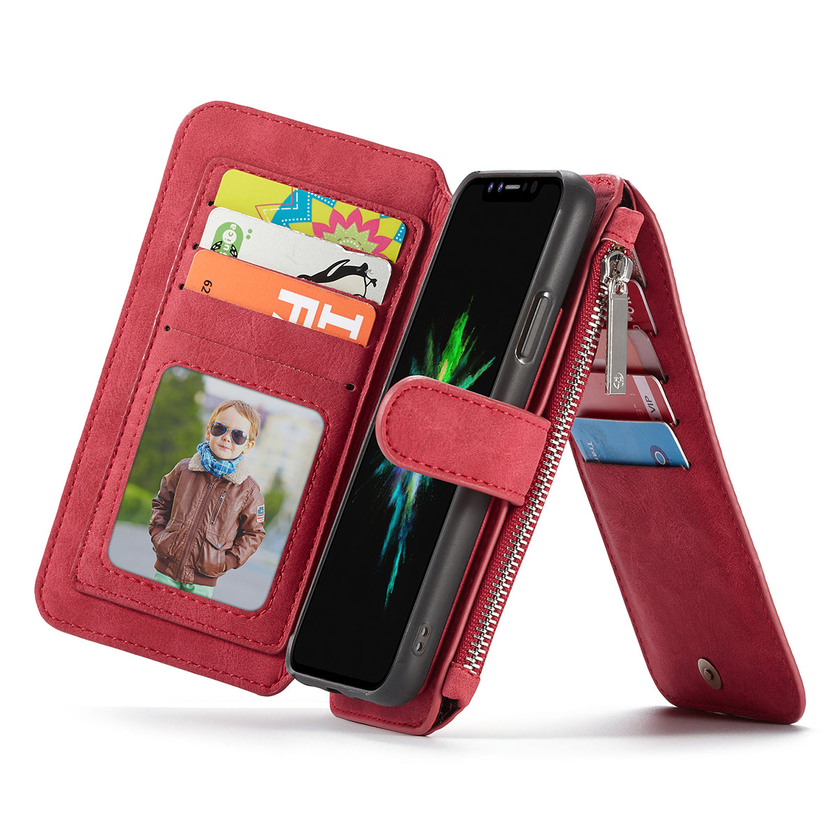 Genuine leather separable flip with 14 cards space wallet iPhone X case