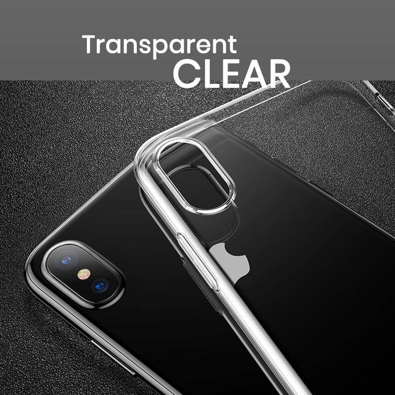 Ultra Slim Clear Transparent iPhone X case with dustproof plug