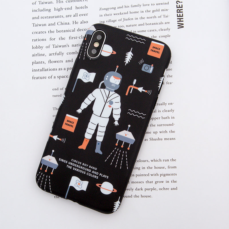 Funky spaceman pattern soft TPU silicon iPhone XS Case 5.8""