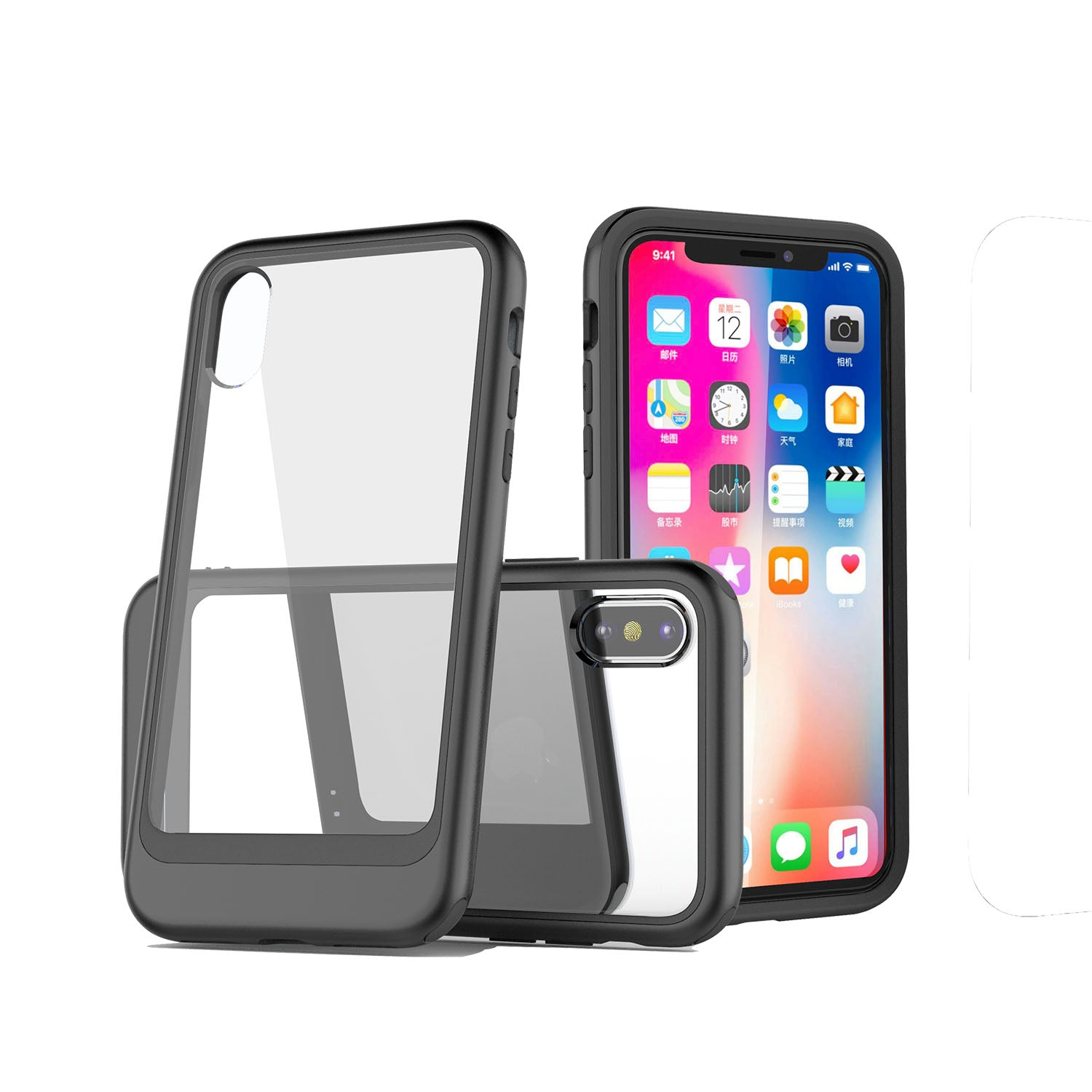 Fashion transparent PC back with colourful bumper slim iPhone XS Case 5.8""