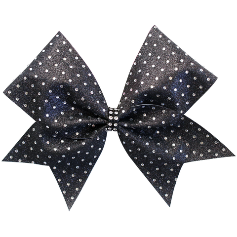 Navy Blue Rhinestone Glitter Tailless 4inch Bow
