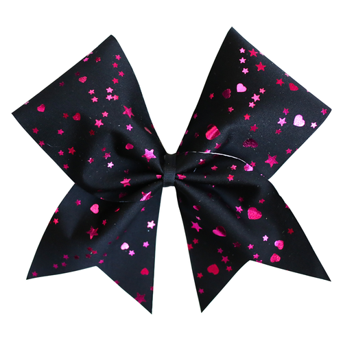 Black and Pink Stars Cheer Bow
