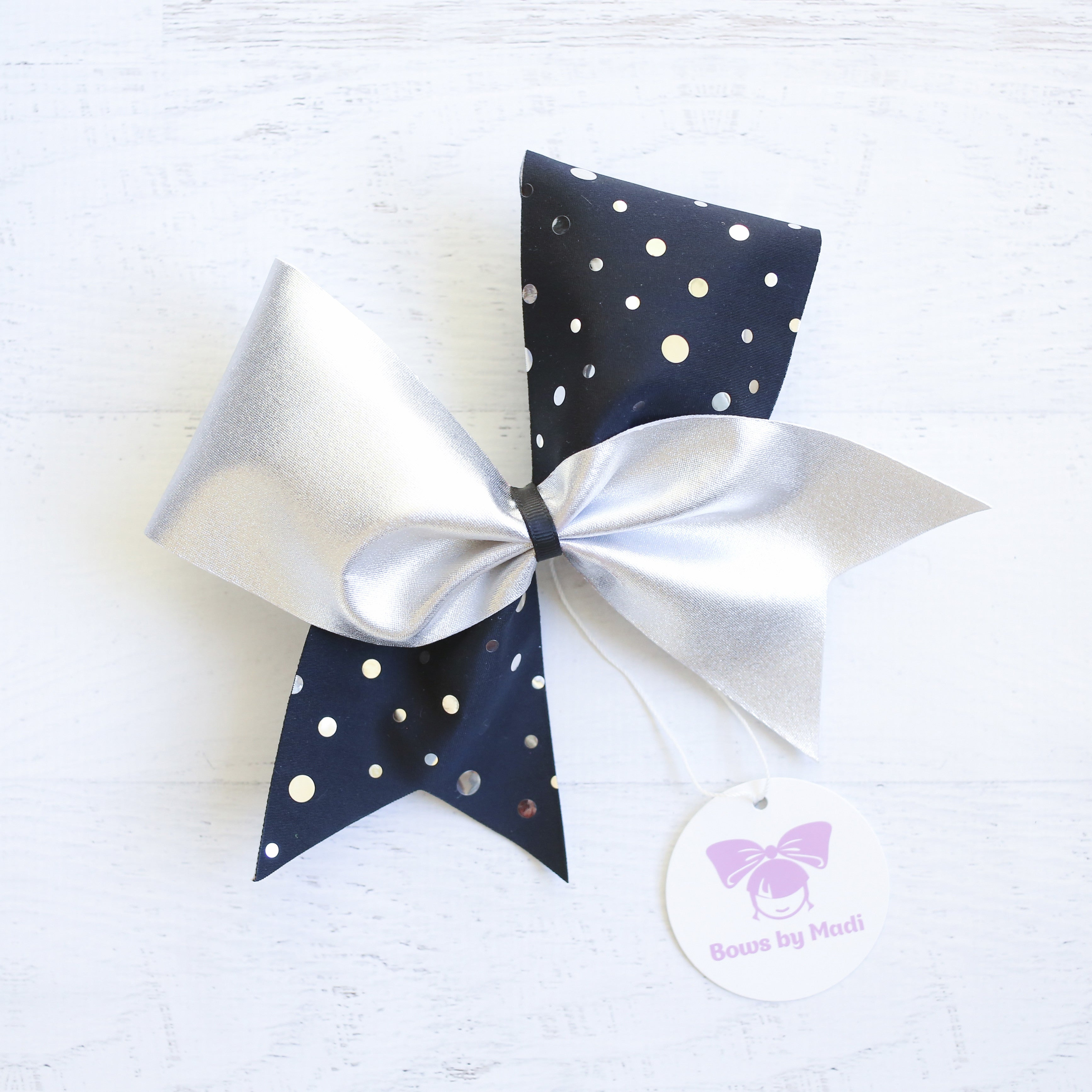 Black & Silver Polka Dot Cheer Bow