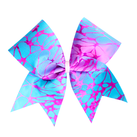 Pink & Blue Tie Dye Cheer Bow