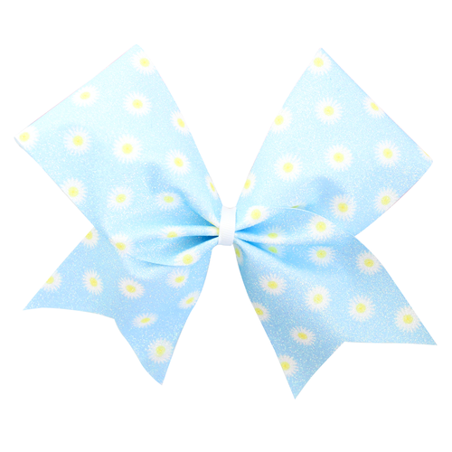 Daisies Blue Glitter Sublimated Cheer Bow