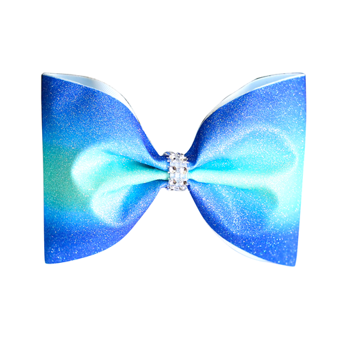 Blue Aqua Ombre Glitter 4inch Tailless Bow
