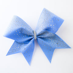 Blue Sprinkling Crystal Rhinestone Cheer Bow