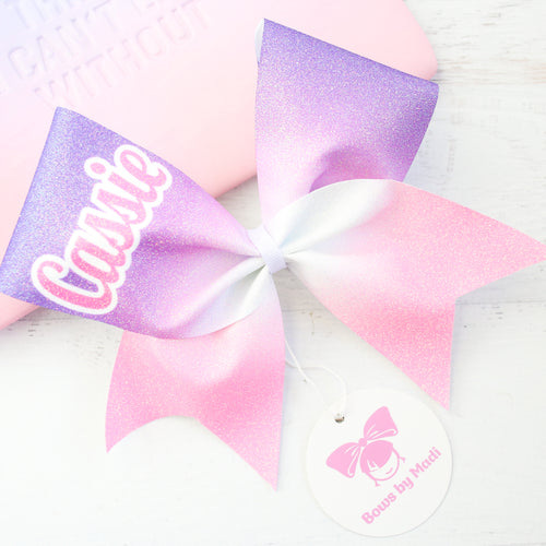 Purple & Pink Ombre Glitter Customised Name Cheer Bow