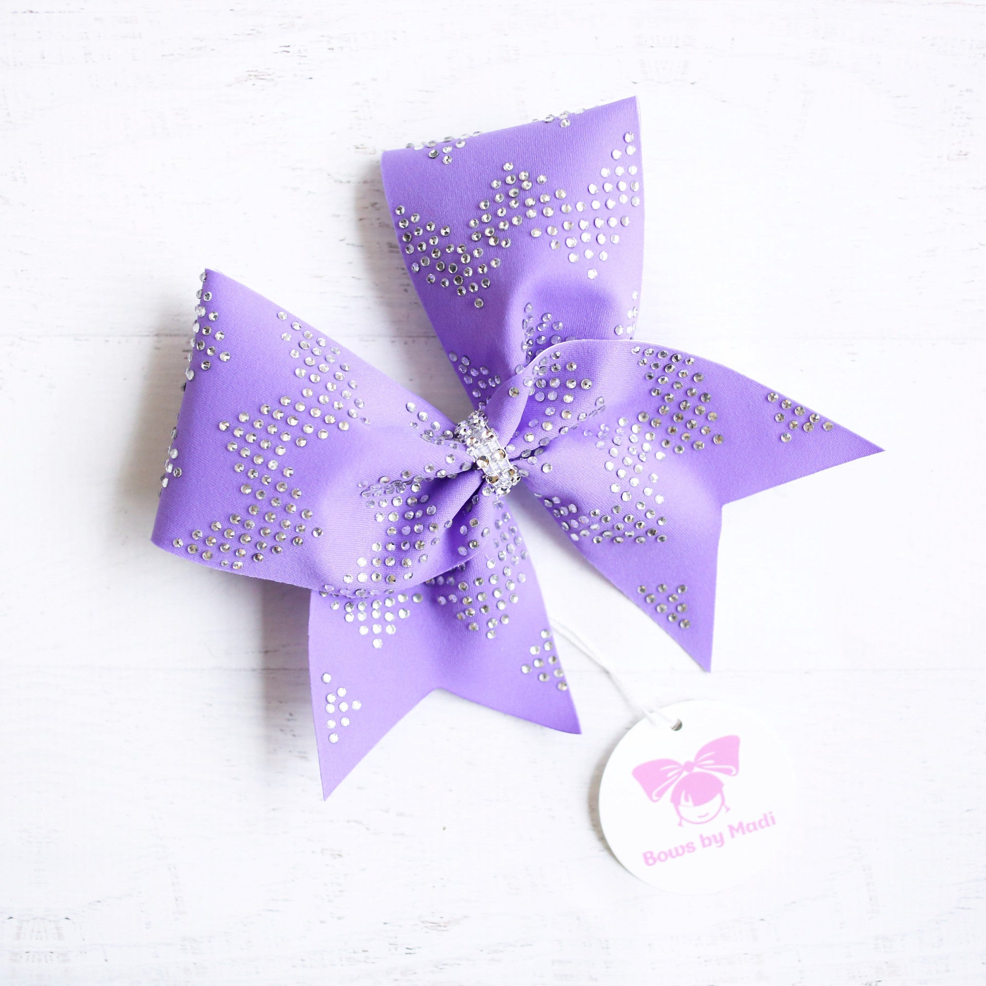 Purple Chevron Bling Cheer Bow