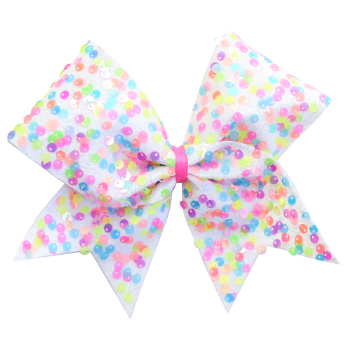 Confetti White Cheer Bow