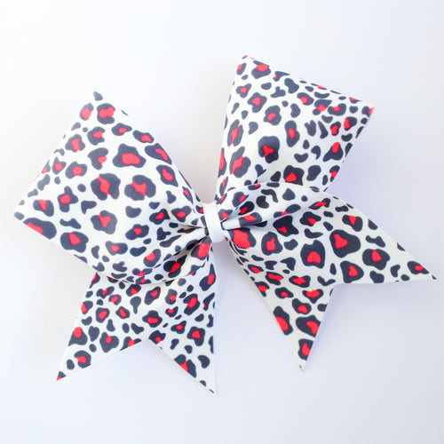 Coral Leopard Cheer Bow