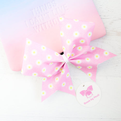 Daisies Pink Glitter Cheer Bow