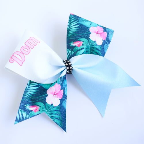 Tropical Personalised Glitter Cheer Bow