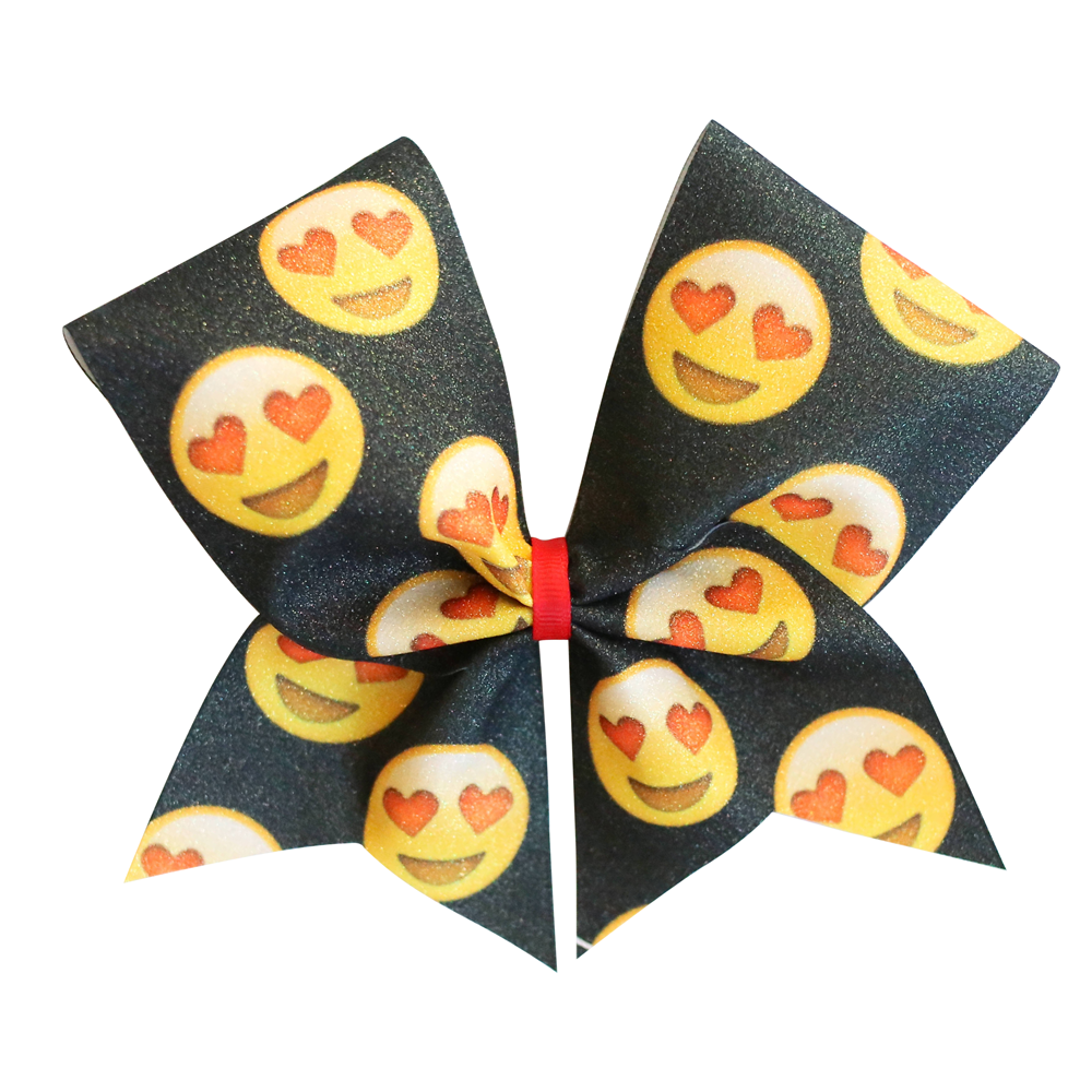 Emoji Glitter Cheer Bow