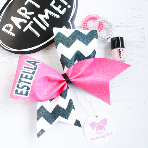 Pink and Black Chevron Customised Name Glitter Cheer Bow