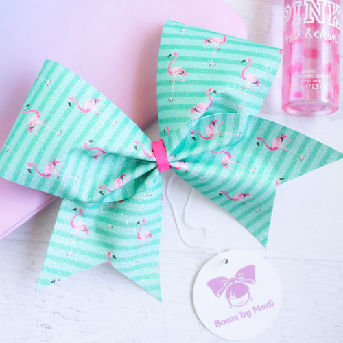 Flamingo Glitter Cheer Bow
