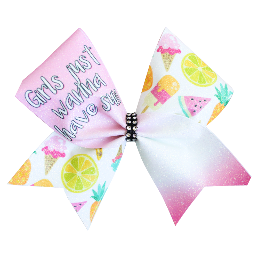Girls Just Wanna Have Sun Glitter Cheer Bow
