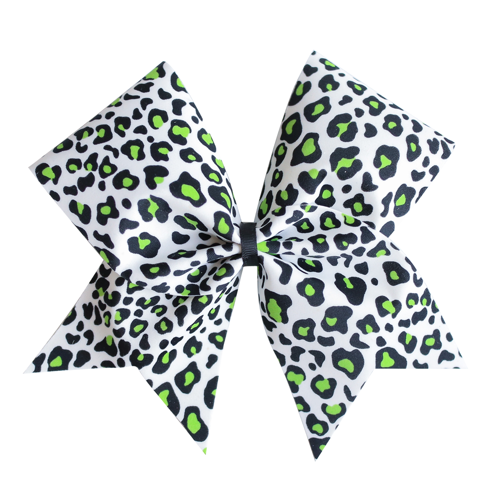 White Cheer Bow with green and black leopard print