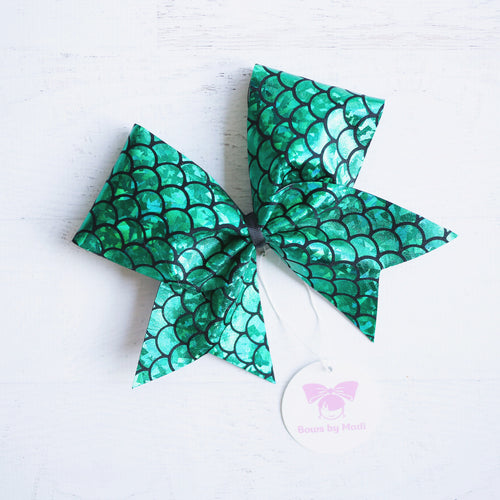 Green Mermaid Cheer Bow