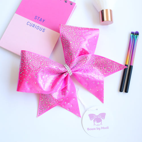 Candy Pink Rhinestone Cheer Bow