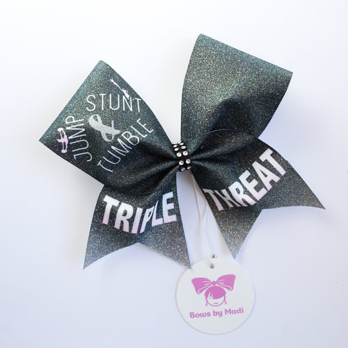 Jump Stunt & Tumble Triple Threat Black Cheer Bow