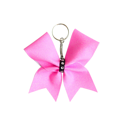 Pink Glitter Mini Keyring Cheer Bow