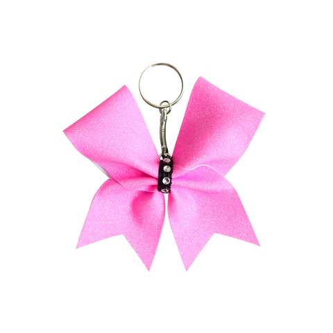 Purple Glitter Mini Keyring Cheer Bow
