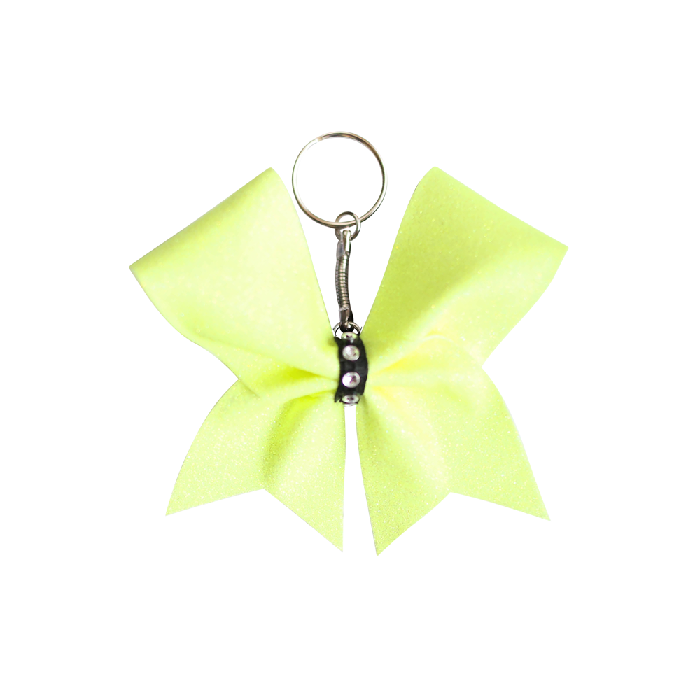 Yellow Glitter Mini Keyring Cheer Bow